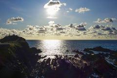 Hartland-cais leve de contraste Devon England Reino Unido Fotos de Stock
