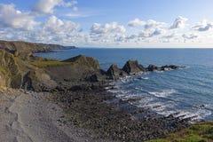 Hartland-kaj Devon England UK för sen eftermiddag Fotografering för Bildbyråer