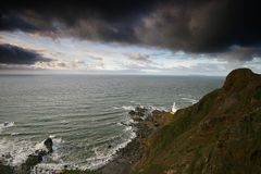 Hartland Point Lighthouse North stock photography