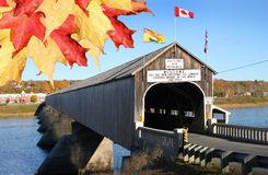 Hartland wooden covered bridge with leaves Royalty Free Stock Image