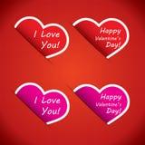 Hartpictogrammen - I-uw liefde en Gelukkige Valentijnskaartendag Stock Foto's