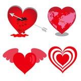 Hartpictogrammen, Vector geplaatste harten, valentijnskaarten Stock Afbeelding