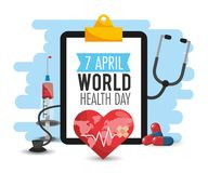 Hartslag en pillen aan de dag van de wereldgezondheid vector illustratie
