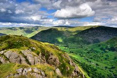 Dark clouds over the Patterdale common. The Hartsop valley from Hartsop Above How Royalty Free Stock Photography