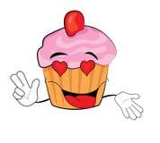 Hartstochtelijk Cupcake-beeldverhaal Stock Afbeelding
