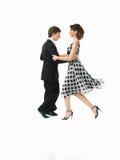 Hartstochtelijk dansend paar op witte achtergrond Royalty-vrije Stock Fotografie