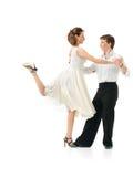Hartstochtelijk dansend paar op witte achtergrond Royalty-vrije Stock Afbeeldingen
