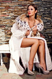 Hartstochtsvrouw in de bontjas van de Luxelynx Royalty-vrije Stock Fotografie