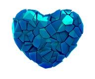 Hartsymbool in een 3D illustratie van gebroken plastic blauwe die kleur wordt op een wit wordt geïsoleerd gemaakt dat royalty-vrije illustratie