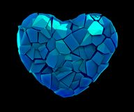 Hartsymbool in een 3D illustratie van gebroken plastic blauwe die kleur wordt op een zwarte wordt geïsoleerd gemaakt die Stock Afbeeldingen