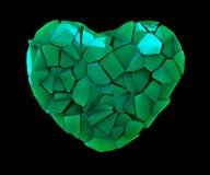 Hartsymbool in een 3D illustratie van gebroken plastic groene die kleur wordt op een zwarte wordt geïsoleerd gemaakt die Royalty-vrije Stock Fotografie