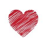 Hartsymbool gemaakte die hand in rood wordt getrokken royalty-vrije illustratie
