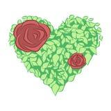 Hartsymbool in groene bladeren met rozen Vector stock foto