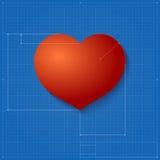 Hartsymbool zoals blauwdruktekening. Stock Afbeeldingen