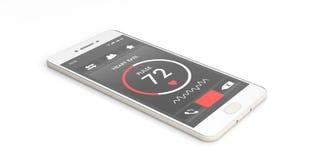 Harttarief controle op het smartphonescherm op witte achtergrond 3D Illustratie Royalty-vrije Stock Fotografie