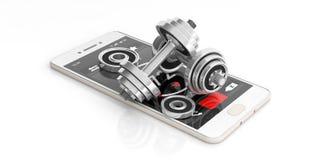 Harttarief controle op het smartphonescherm op witte achtergrond 3D Illustratie vector illustratie