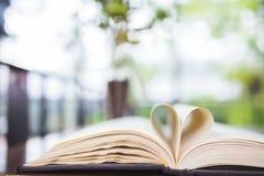 Hartvorm geopend boek stock foto