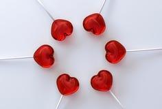 Hartvorm lollypops royalty-vrije stock afbeeldingen