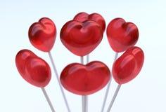 Hartvorm lollypops stock foto