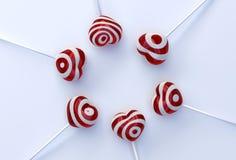 Hartvorm lollypops Stock Afbeelding