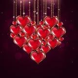 Hartvorm Valentine Red Background Stock Afbeeldingen