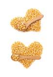 Hartvorm van graanpitten die wordt gemaakt stock foto
