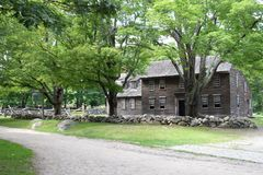 Hartwell Tavern. Famous old Hartwell Tavern in the Minute-Man National Park in Massachusetts. Famous for the Revolutionary War royalty free stock images
