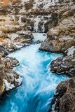 Harunfossar waterfalls, Iceland. One of the beautiful waterfalls. In Iceland. Hraunfossar, a waterfall formed by rivulets streaming over Hallmundarhraun, a lava Stock Photography