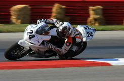 Harv's Harley Davidson team. Pro rider Travis Wyman is racing for the Harv's Harley-Davidson team at the pro motorsports super motorcycle racing event, Central stock photo