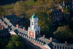 Harvard Campus. Aerial view of Harvard Campus featuring Eliot House Clock Tower along Charles River, Cambridge, Boston, MA Stock Images