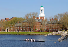 Harvard Lifestyle. People rowing, runing and walking around Harvard University in the spring Stock Photo