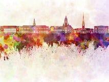 Harvard skyline in watercolor Stock Photo