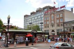Harvard Square in Harvard University, Boston stock image