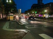 Harvard Square traffic at night Royalty Free Stock Photography