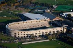 Harvard Stadium. Aerial view of Soldiers Field, home of Harvard Crimson, Harvard, Cambridge, Boston, MA Royalty Free Stock Photo