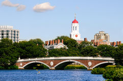 Harvard University. View of Harvard University and footbridge on Charles River in Cambridge, Massachusetts Stock Image