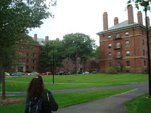 Harvard University in Cambridge, Massachusetts. Young student on the campus of Harvard University stock image