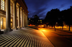 Harvard University campus at night. Widener Memorial Library entrance at night. Harvard University campus Stock Image