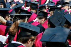 Harvard University Graduates on Commencement Day Stock Photography