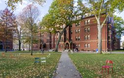 Harvard University. The historic architecture of the Harvard University in Cambridge, Massachusetts, USA on the Fall season Stock Photography