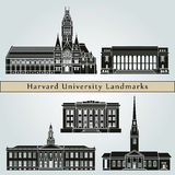 Harvard University landmarks and monuments. On blue background in editable vector file Royalty Free Stock Photo