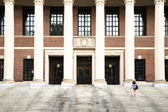 Harvard University Library. Young woman on the steps of Harvard University Library Stock Photos