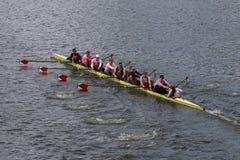 Harvard University races in the Head of Charles Regatta Stock Photo