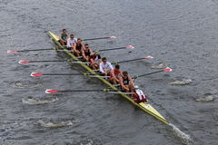 Harvard University races in the Head of Charles Regatta Men's Championship Eights Royalty Free Stock Image
