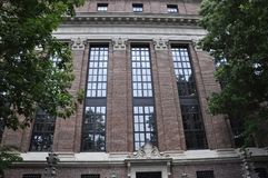 Harvard Widener arkivdetaljer från den Harvard universitetsområdet i den Cambridge Massachusettes staten av USA Arkivbild