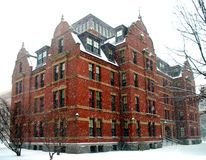 Harvard in winter. Winter snow in Harvard Square, USA Royalty Free Stock Images