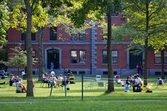 Harvard Yard Scene Stock Image