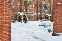 Harvard Yard in the Winter. Harvard Yard dorms in the winter Stock Photos