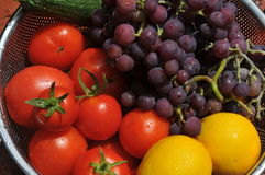 Tomato,lemons, grapes, zucchini Stock Photography