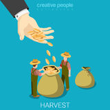 Harvest agriculture business farming flat vector isometric 3d. Harvest agriculture business isometry concept flat 3d isometric web infographics vector Royalty Free Stock Photos